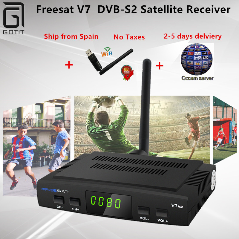 Open box Freesat V7 DVB-S2 Satellite Receiver with CCCAM 1 Year Europe Spain 4 Clines and 1 USB WIF Device TV Box DVB-S2 TV box eu warehouse shipping hd satellite tv receiver tbs5925 usb dvb s2 tv box unique usb tv box supports vcm ccm acm and 32apsk