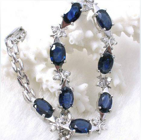 2017 Real Qi Xuan_free Mail Dark Blue Stone Elegant Bracelets_S925 Solid Silver Fashion Bracelets_Manufacturer Directly Sales nokia 230 dark silver