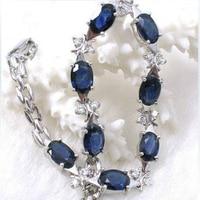 2017 Real Qi Xuan_free Mail Dark Blue Stone Elegant Bracelets_S925 Solid Silver Fashion Bracelets_Manufacturer Directly Sales