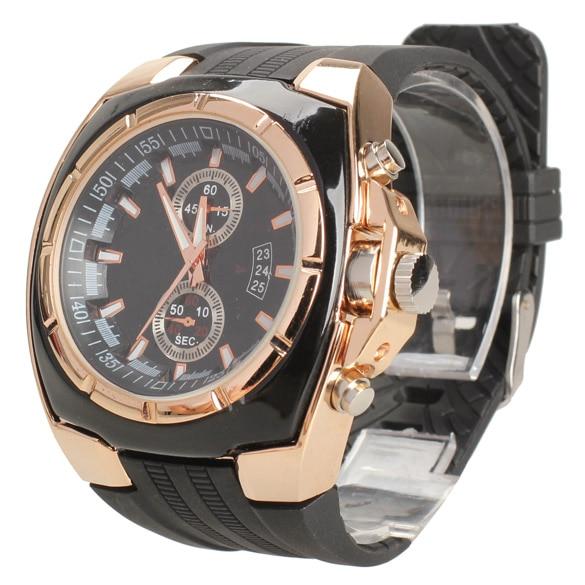 Men Sports DesignBlack Rubber Strap Rose Golden Stainless Steel Case Big Round Dial Quartz Watch Wrist Watch montre homme etanch