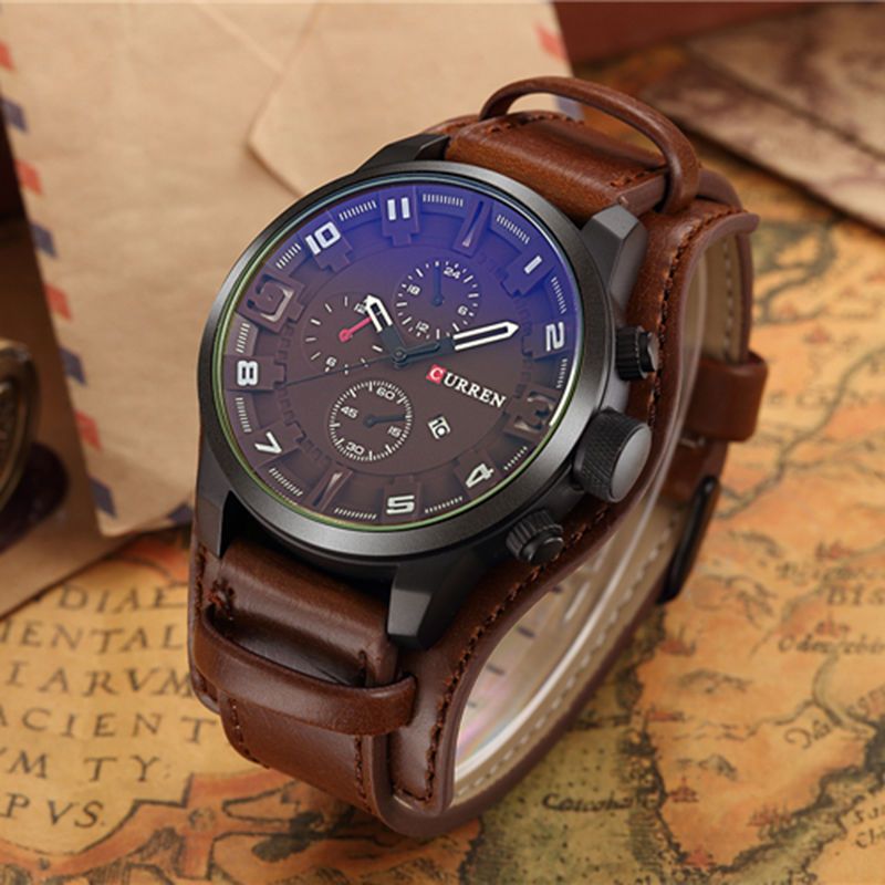 Curren Mens Watches Top Brand Luxury Leather Strap Quartz Watch Fashion Casual Sport Watch Clock Wristwatch Relogio Masculino relogio masculino date mens fashion casual quartz watch curren men watches top brand luxury military sport male clock wristwatch