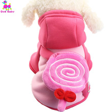 DOGBABY Dogs Hoodies 100% Cotton Leisure Pet Coat Winter Wram Clothes For Chihuahua Pink Color Lollipop Coin Pocket Dogs Jackets