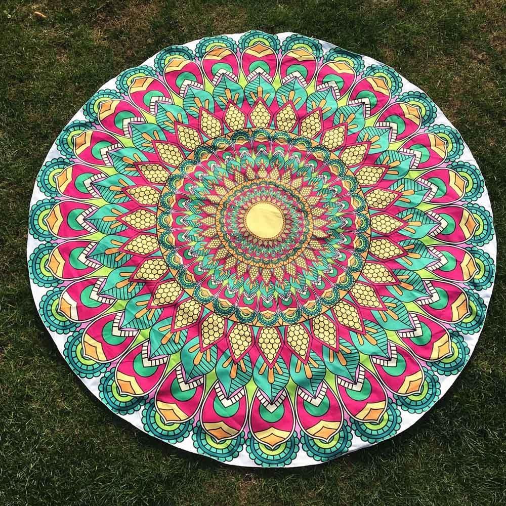 Bescheiden Bohemian Flamingo Ronde Strandlaken Ronde Afdrukken Hippie Tapestry Strand Picknick Gooi Yoga Mat Handdoek Blankety417