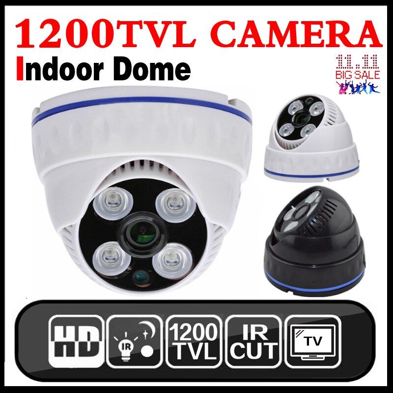 H.264 CMOS 1200TVL PAL NTSC caméras de sécurité 3.6MM Surveillance de sécurité intérieure CCTV BNC caméra dôme filaire caméra de vidéosurveillance analogique
