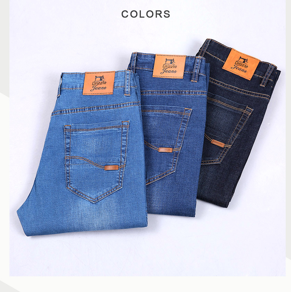 d4eee738db9 Drizzte Lightweight Stretch Jeans Mens Denim Summer Blue Black Blue Jean  Fashion 28-35-42