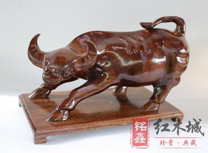 Ornements de sculpture sur bois, bourse de bétail de séquoia, Wall Street, ville chance Fortune, sculpture sur bois massif Feng Shui ornements catt