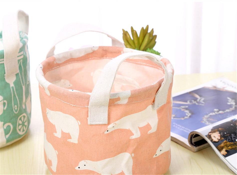 Cute Printing Cotton Linen Desktop Round Storage Organizer Sundries Box Cabinet Underwear Jewelry Cosmetic Stationery Basket (12)