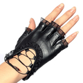 100% sheepskin soft leather gloves women sexy fingerless  lace trimming gloves black S/M/L