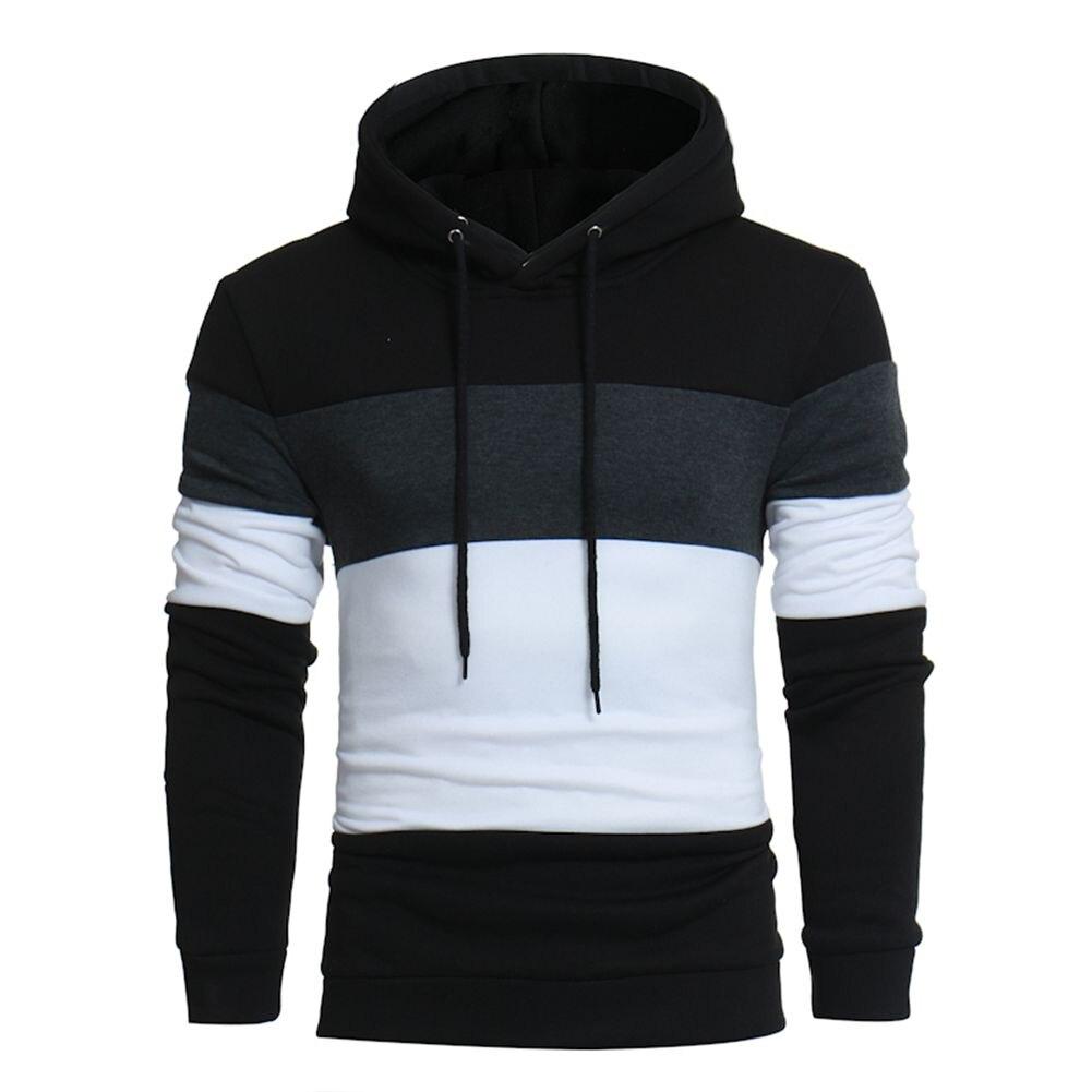 Marke 2018 Hoodie Farbe Stitching Hoodies Männer Mode Trainingsanzug Männliche Sweatshirt Hoody Herren Zweck Tour Schwarz