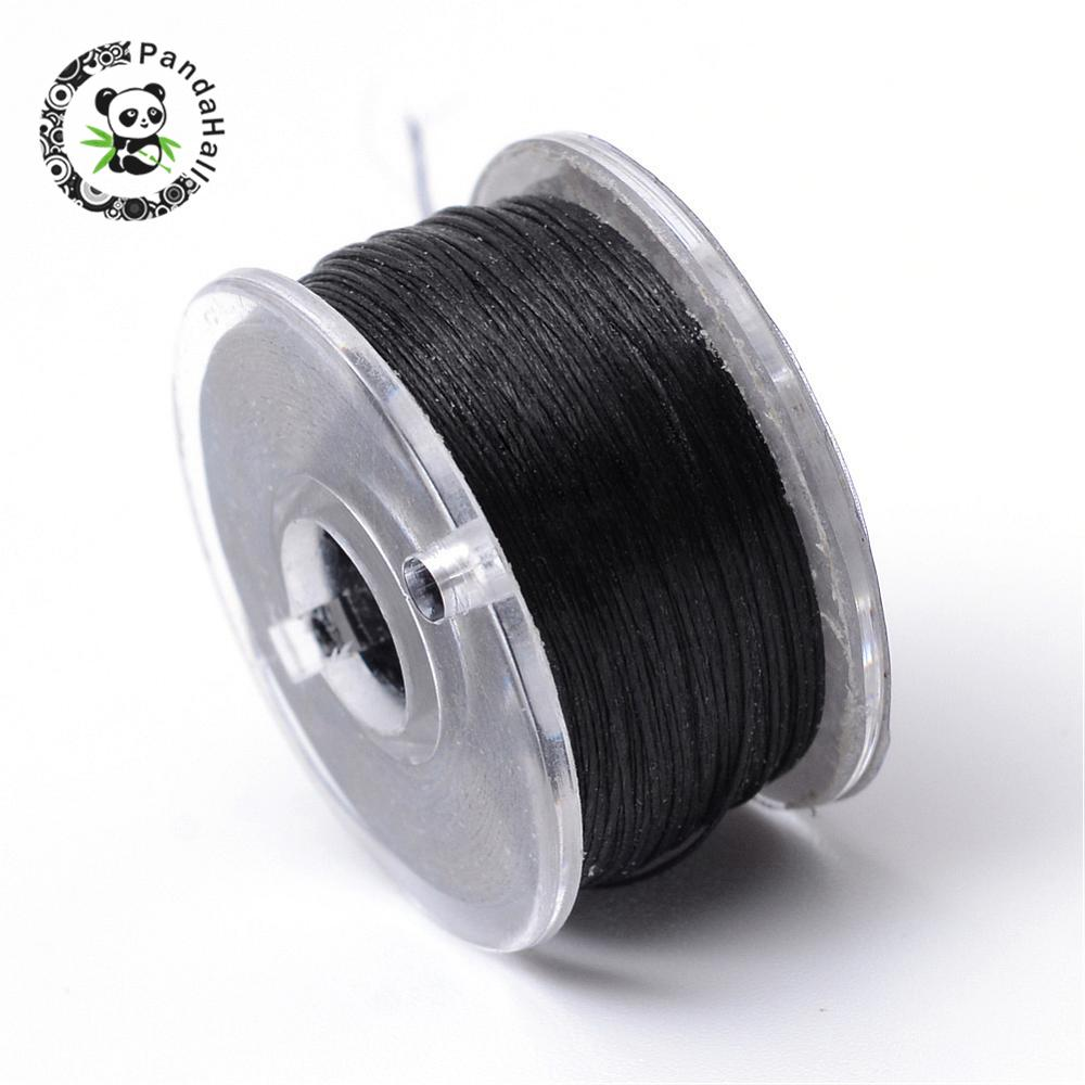 0.1mm Special Coated Polyester Threads For Seed Beads Jewelry Findings for DIY Black White about 50yards/roll(China)