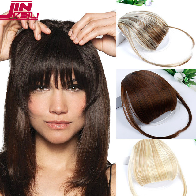 JINKAILI Blonde Color Hair Clip in Hair Bang Full Fringe Short Straight Hair  Extension for women 2658f447aa