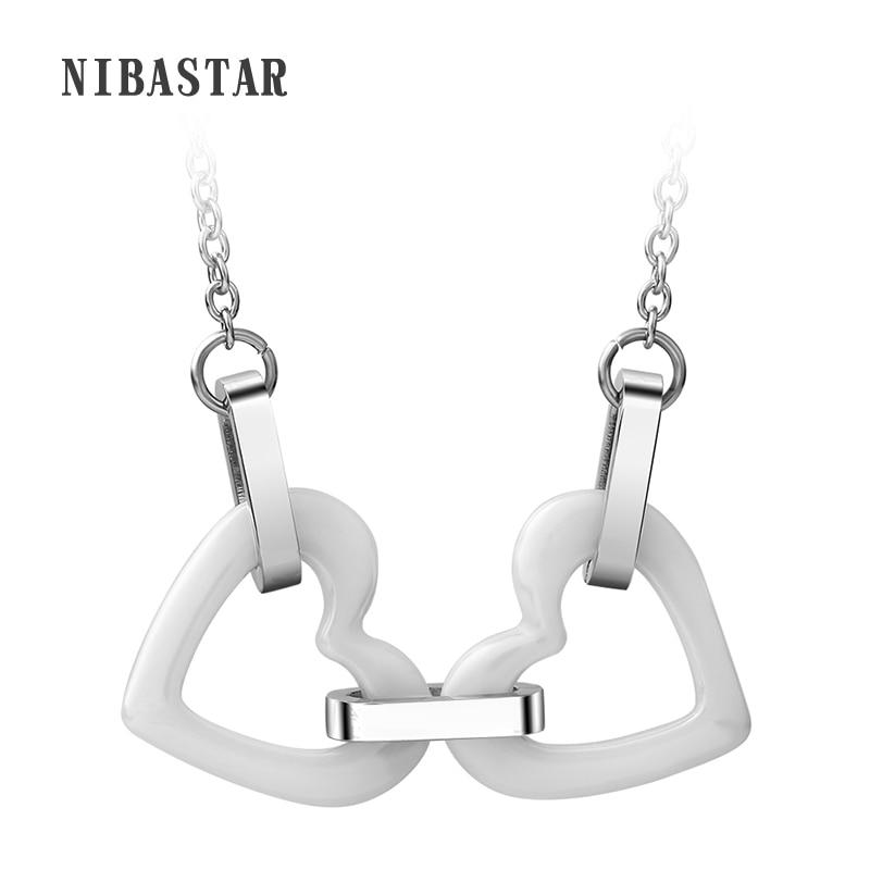 Módní bílé keramické dvojité srdce přívěsky náhrdelník z nerezové oceli Link řetěz náhrdelník náhrdelník ženy šperky šperky
