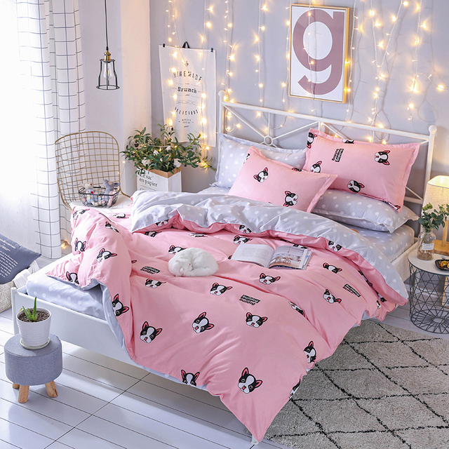 2018 New Cartoon Bedding Set Black Pink Dog Printed Twin King Queen Single  Size 3/