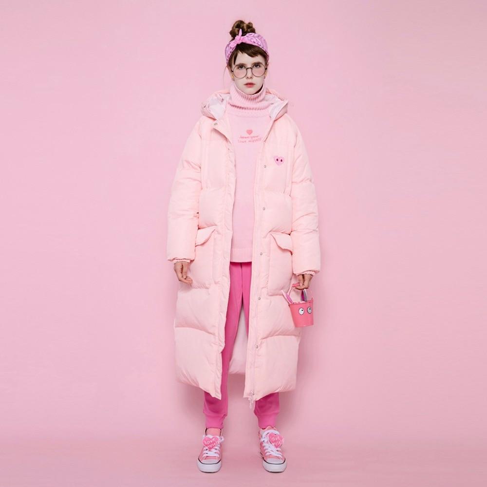 Largo Cálido 90 rosado Gran lavanda Pato Grueso Capucha Diseño Abajo  Abrigos Original Bordado Blanco Mujeres Rosa Chaquetas De Negro Invierno ... 4cfba0d94734