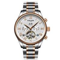KINYUED Brand Watch Swiss Tourbillon Skeleton Watch Men Automatic Mens Mechanical Watch Army Military Relogio Masculino
