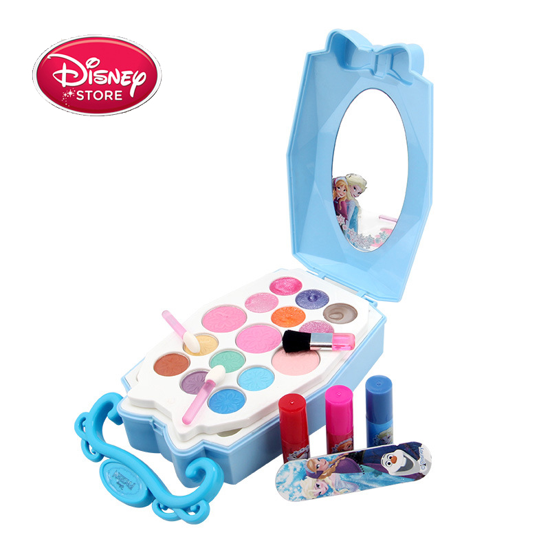 Disney Frozen Makeup Toys Princess Play Makeup Toys For Girls Makeup Set Elsa Anna Lipstick Eye Shadow Nail Polish Disney Sets