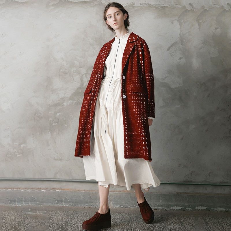 Aw Collection Conception Rouge Laine Originale Bourgogne Manteau Femmes Surdimensionné 2018 Rfqd5wf