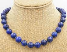 New 12mm Blue Lapis Lazuli Round Beads Necklace(China)
