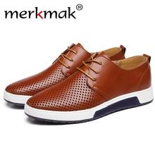 Merkmak 2017 Hot Sale Men's Shoes Genuine Leather Holes Design Breathable Shoes Spring Autumn Business Men Sapatos Masculinos