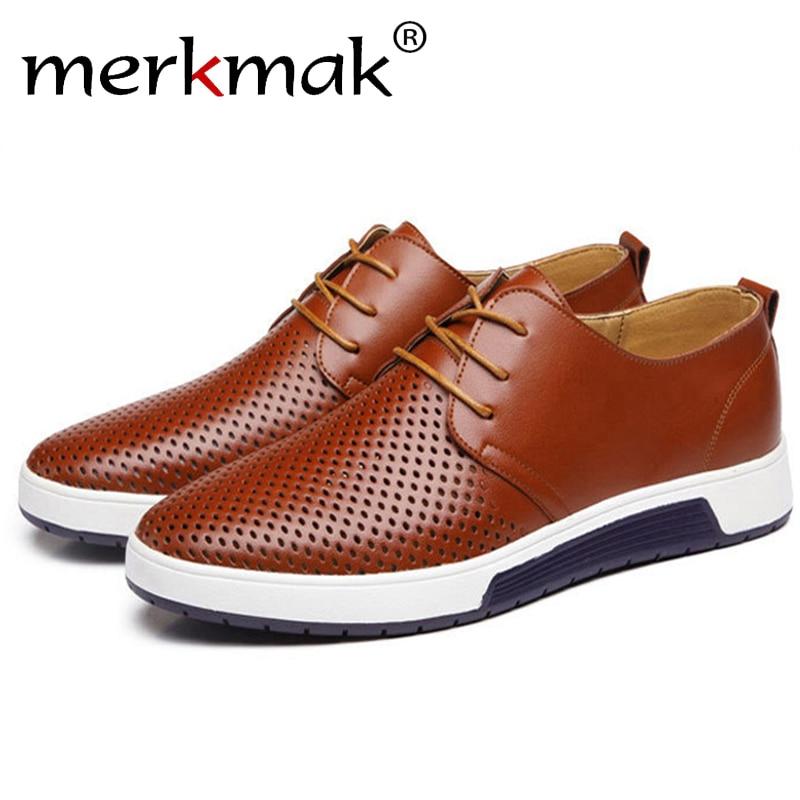 Merkmak 2017 Venda Quente Sapatos de Couro Genuíno dos homens Projeto Buracos Respirável Sapatos Primavera Outono Homens de Negócios Sapatos Masculinos