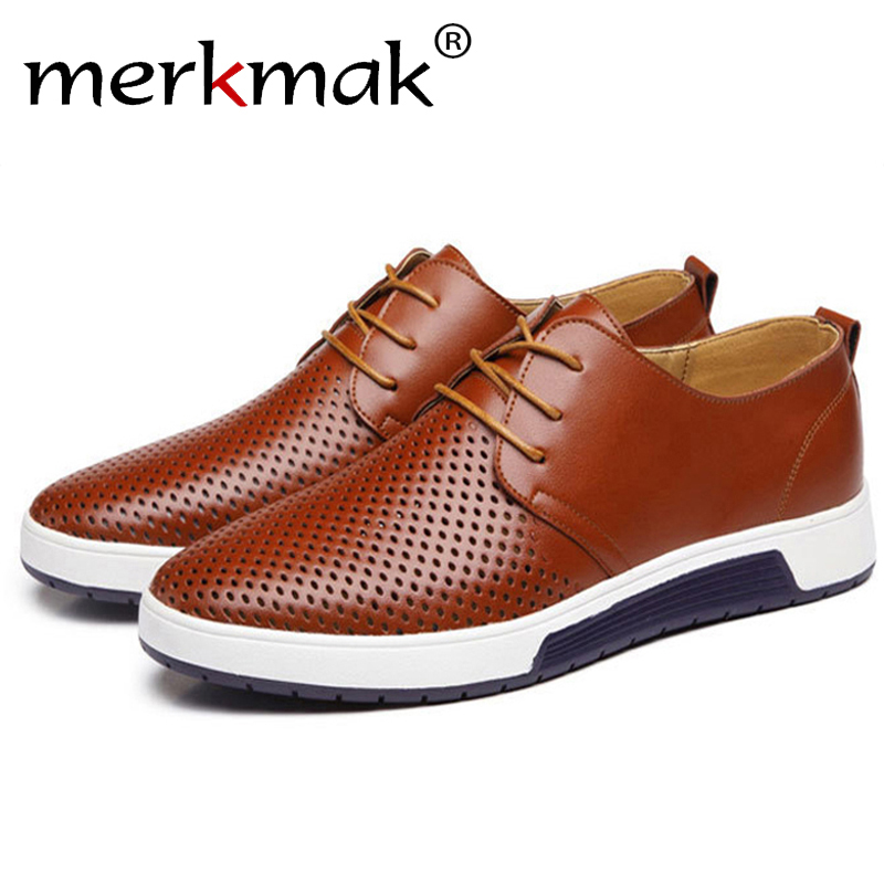 Merkmak/Новый 2018 Для мужчин повседневная обувь кожаные летние дышащие отверстия Элитный бренд плоские туфли для Для мужчин Прямая доставка