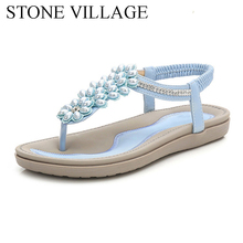 Summer New Sweet String Bead Floral Bohemia Casual Women Sandals Comfort Soft Bottom Women Shoes  Large Size 36 42