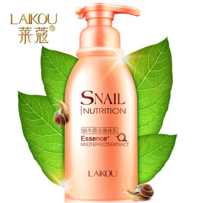 LAIKOU Snail Moisturizing body lotion 250ml Hydrating Nourish oil control body care body fragrant cream nourish balance refreshing hand lotion объем 100 мл