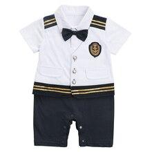 AmzBarley Baby Boys Rompers Newborn Captain pilot onesie 0-18M infant navy costume short sleeve salor baby suit formal clothes