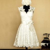 Vestido De Noiva Vintage Popular Hot Sale New Fashion Short Wedding Dress With Bow Sash Open