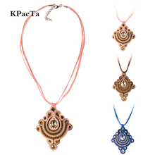 KPacTa Soutache Handmade Weaving Necklaces Ethnic Jewelry Women Rhinestone Decoration Pendant Necklace Party Gifts collar mujer