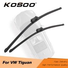 KOSOO для Volkswagen Tiguan MK1/MK2 2007 2008 2009 2010 2011 2012 2013 автомобиля натуральные резиновые щетки стеклоочистителя