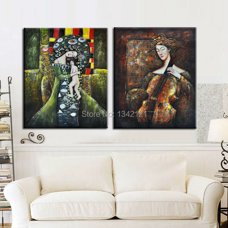 2 piece sale Modern Mural People oil painting image printing Home Decorative Art Paint on canvas frameless