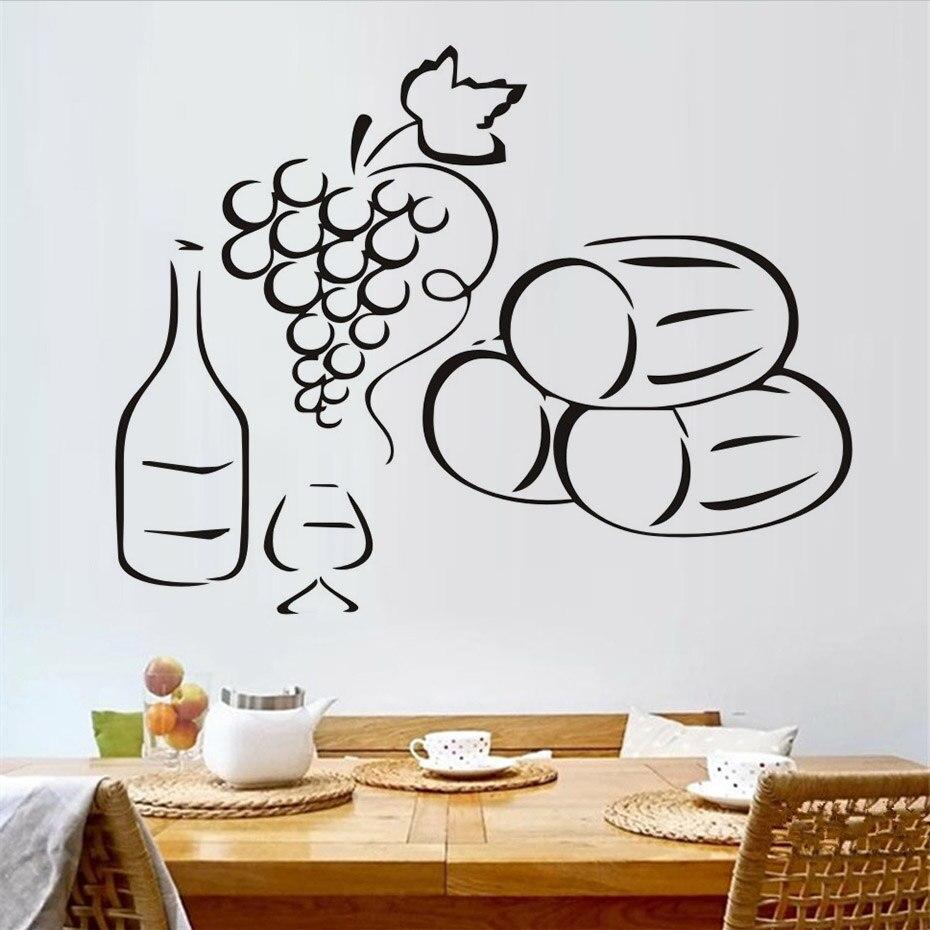 Decoración para el hogar extraíble uvas una botella de vino ...