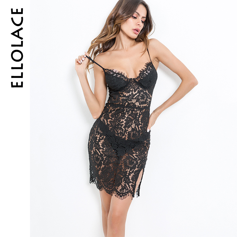 Ellolace <font><b>Summer</b></font> <font><b>Sexy</b></font> <font><b>Spaghetti</b></font> <font><b>Straps</b></font> <font><b>Dresses</b></font> bodycon Sleeveless Backless <font><b>Dress</b></font> <font><b>Women</b></font> Sheer Black Lace Floral Vestido Slim <font><b>Body</b></font> image