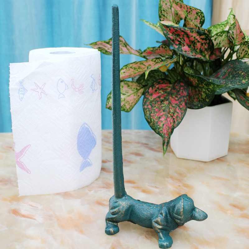 זהב כחול כלב יצוק ברזל מפית נייר בעל בציר בעבודת יד שחור מוצק מתכת כלב צלמיות שולחן גלילה רקמות נייר מדף