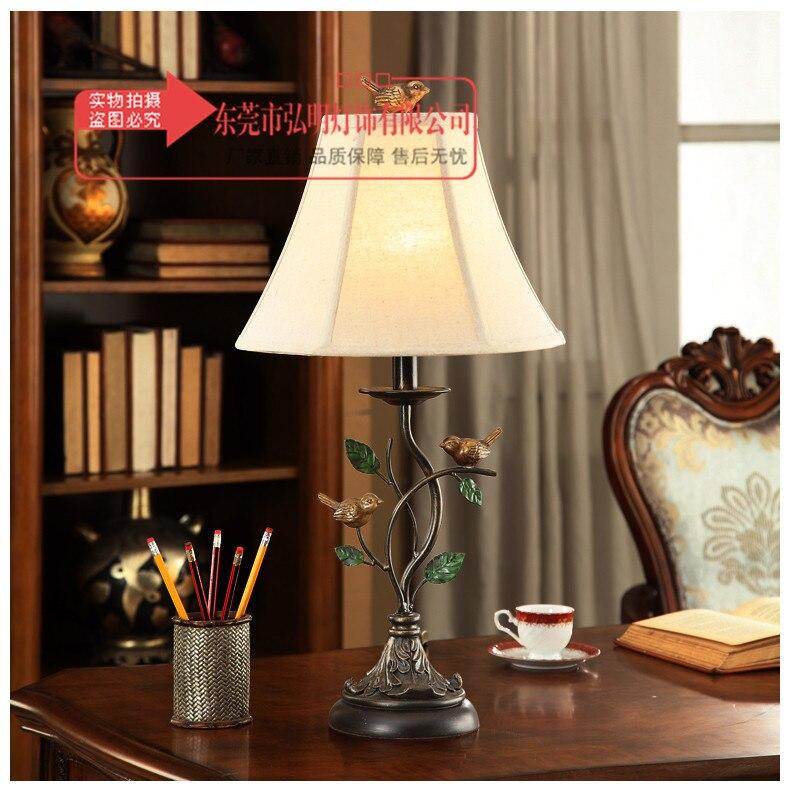 Туда Американский Стиль Птица статуя настольная лампа гладить Ретро Настольные лампы для Спальня ночники страна Стиль исследования настол...
