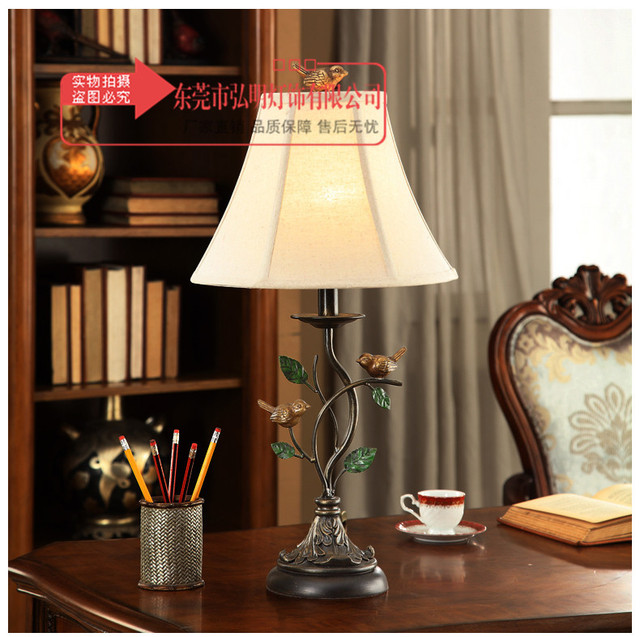 TUDA American Style Bird Statue Table Lamp Iron Retro Table Lamps For  Bedroom Bedside Lamp Country
