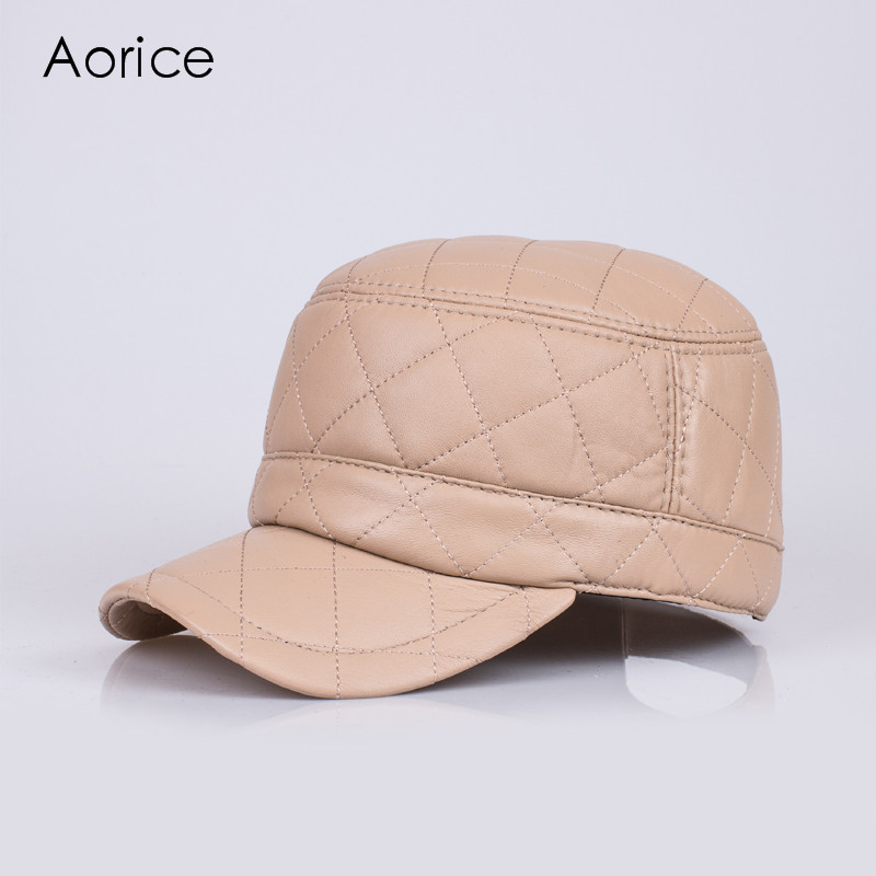 HL067  genuine leather baseball cap/hat brand new men's real  leather adjustable army caps/hats with 3 colors brand bonnet beanies knitted winter hat caps skullies winter hats for women men beanie warm baggy cap wool gorros touca hat 2017