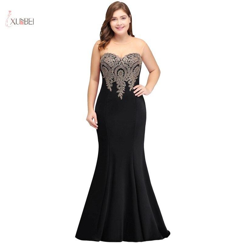 Noir grande taille longue robe de soirée 2019 élégant encolure dégagée sans manches Applique sirène robe de soirée robe de soirée