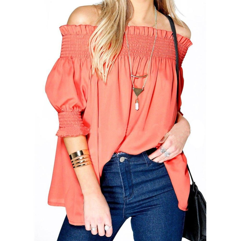 Fashion Women Sexy Ruffles Off Shoulder Tops Women Loose -6950