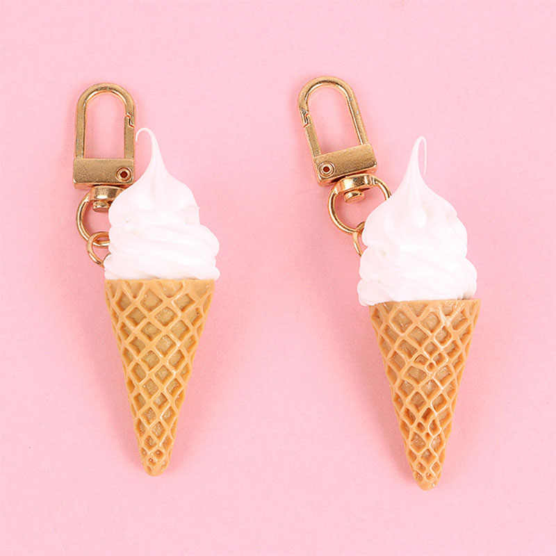 Newest Summer Cartoon Ice Cream Key Chain Cute Women Girls Car Bag Key Holder Key Ring Llaveros Chaveiros Keychains Jewelry Gift