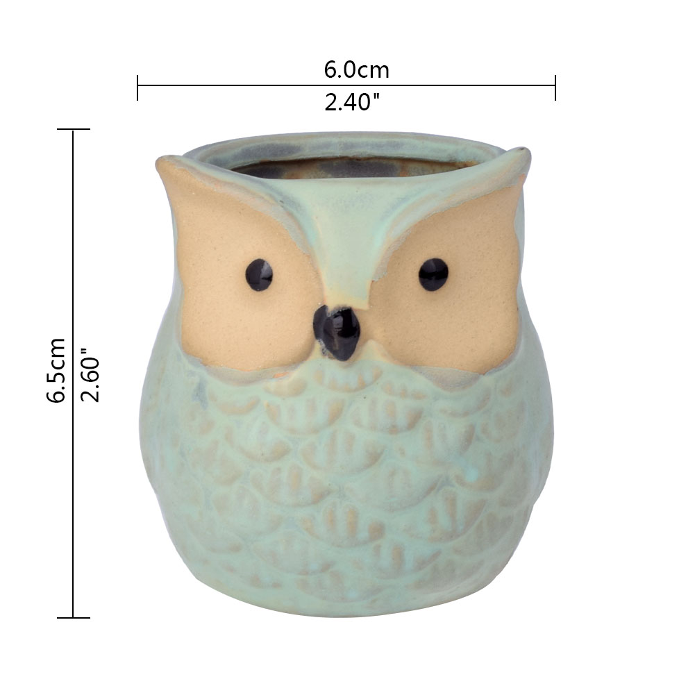Image 3 - WITUSE Owl flower pot ceramic glazed plants pots decorative Cartoon clay garden pot for balconies small indoor flowers-in Flower Pots & Planters from Home & Garden