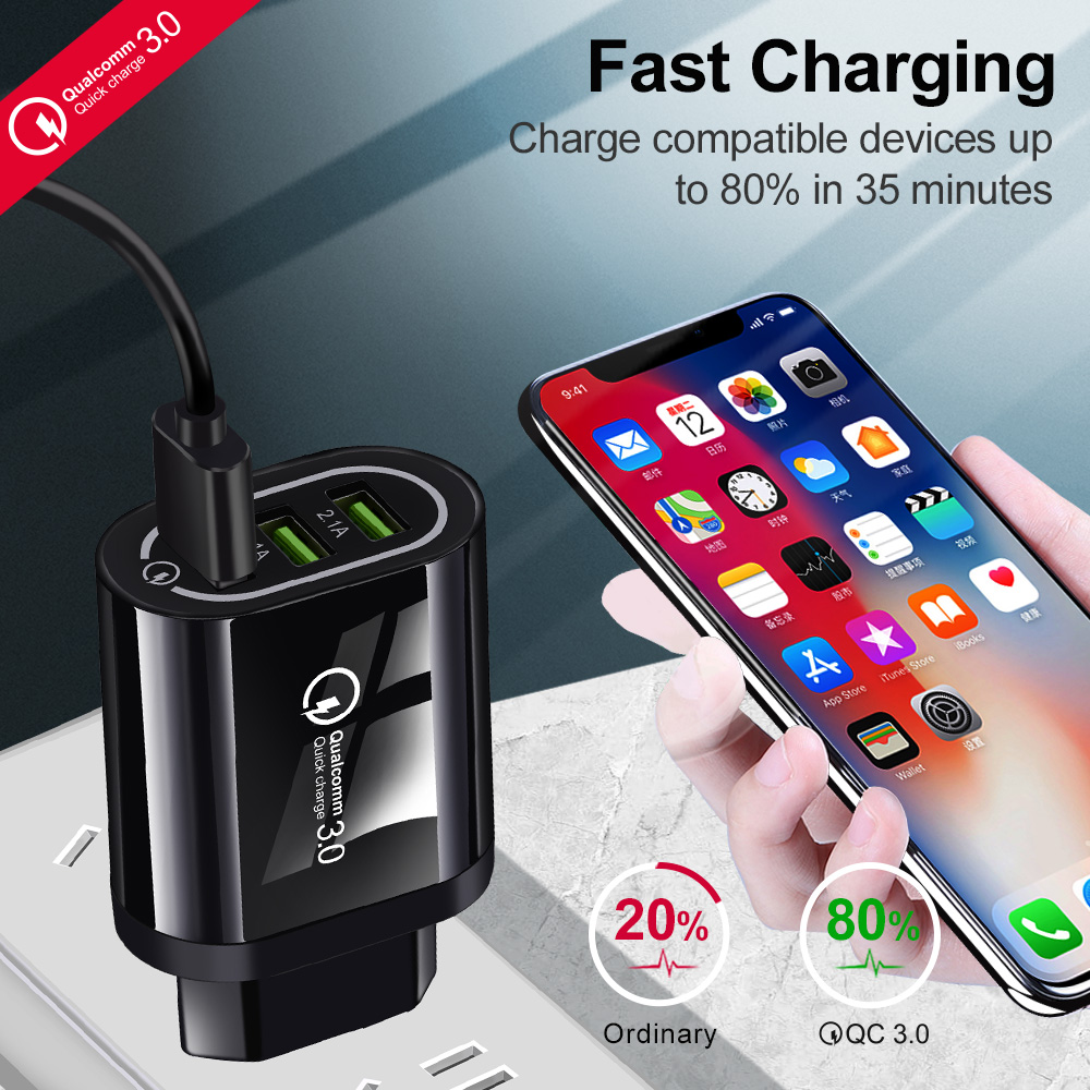 Hussain Quick Charge 3 0 USB Phone Charger For Samsung S8 S9 Xiaomi Redmi Note 7 Fast Wall Charging For iPhone 6 7 8 X XS Max in Mobile Phone Chargers from Cellphones Telecommunications