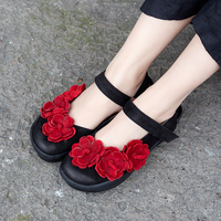 Cool Summer Shoes Flats Lady Latest Floral Design Female Leisure Shoes Genuine Leather Ankle Strap Women Magic Tape Flat Shoes