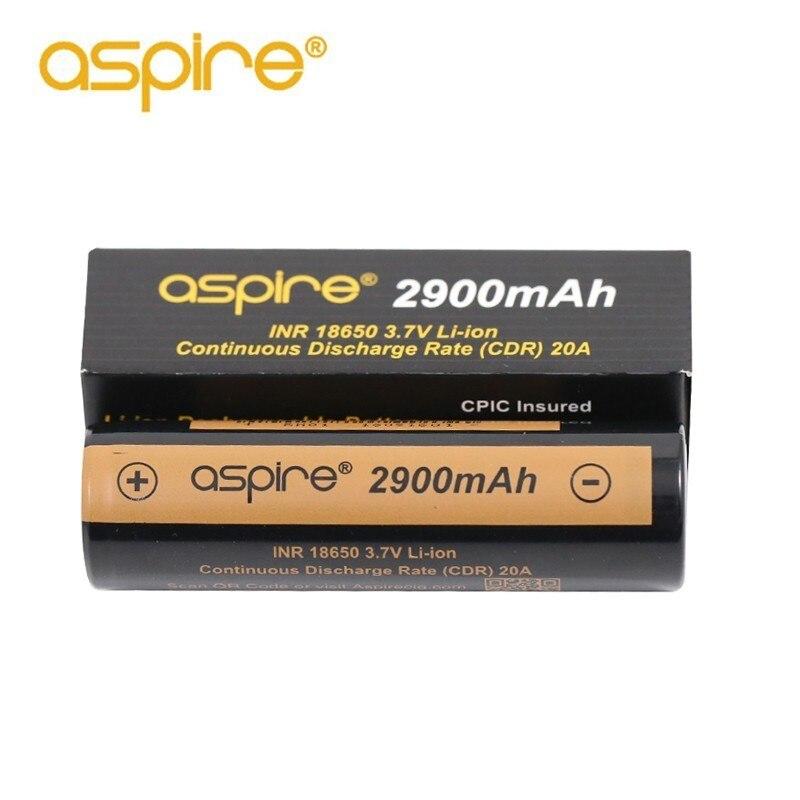 2 pcs Haute Qualité Aspire INR 18650 Batterie 2900 mah 3.7 v Li-ion Cigarette Électronique 18650 Batterie Rechargeable Vaporisateur Batterie