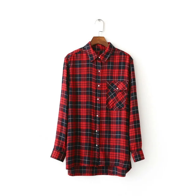 2017 new women elegant back dragon embroidery red plaid Womens red plaid shirts blouses