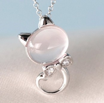 Silver Plated Pink Cute Cat Pendant Necklace