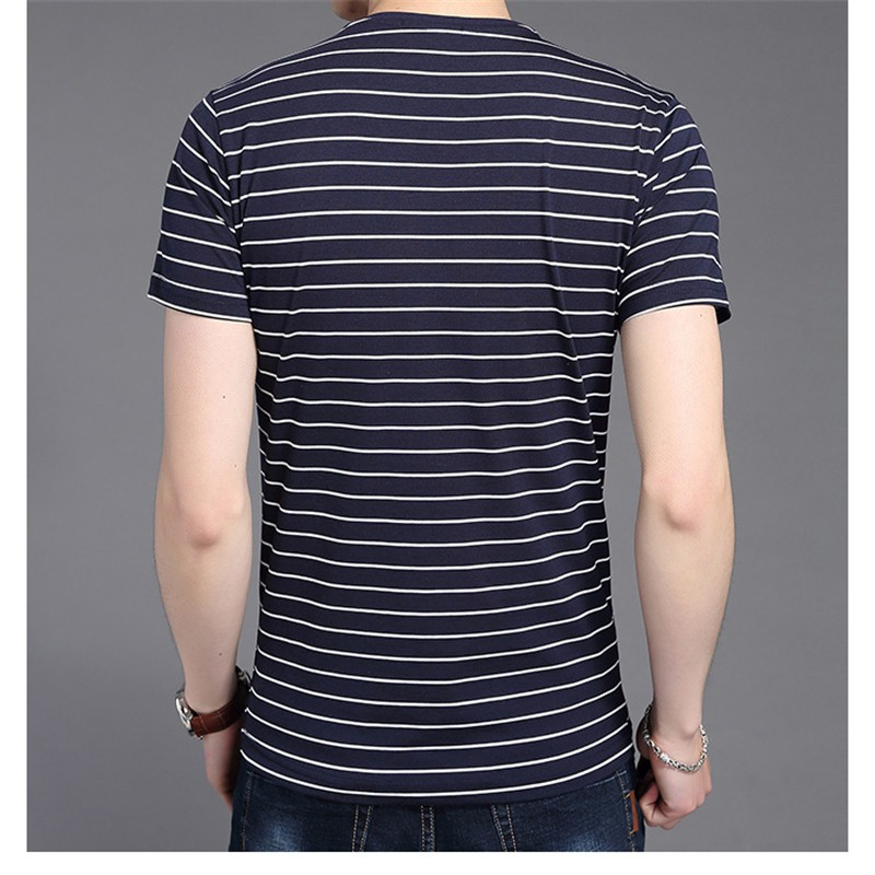 Liseaven New Men V Neck Striped T-shirt Short Sleeve tshirt Fashion Men's tees Clothing 13