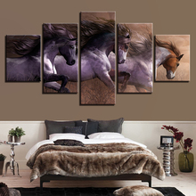 Modern Canvas Paintings Living Room Wall Art Modular HD Prints Pictures 5 Pieces Animal Horses Race Posters Home Decor Framework