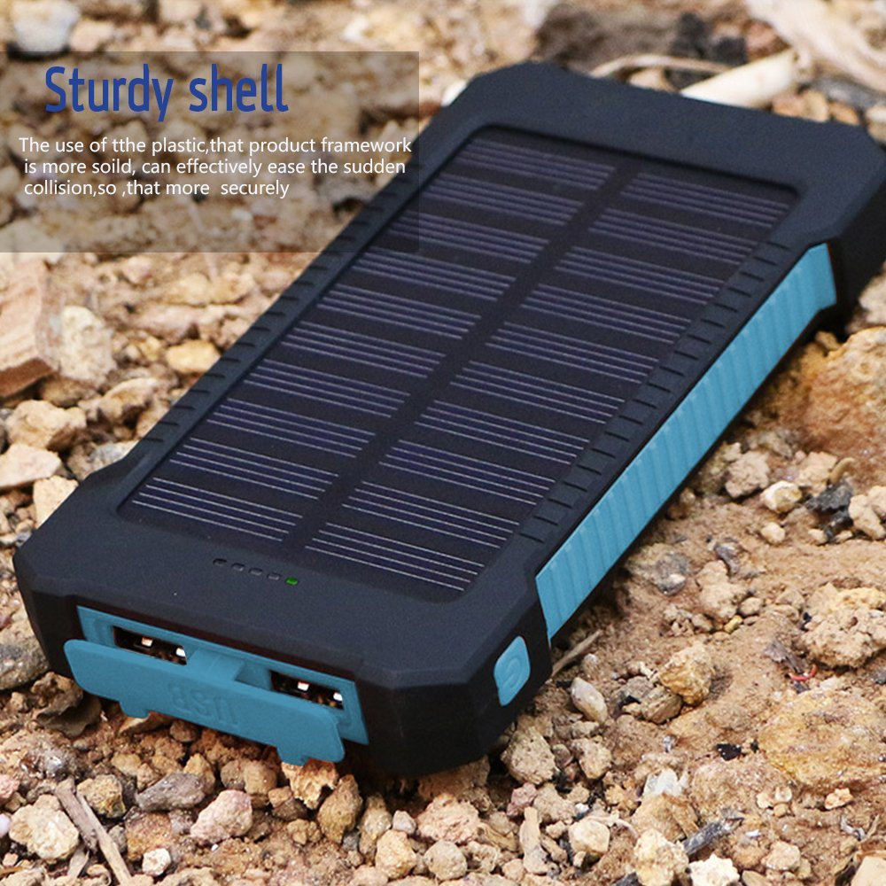 Waterproof Solar 30000mAh Solar Power Bank Charger 2 USB Ports External Charger Powerbank for Xiaomi with LED Light 12